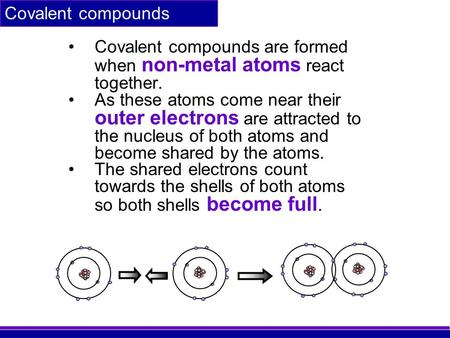 Covalent compounds Covalent compounds are formed when non-metal atoms react together. As these atoms come near their outer electrons are attracted to the.
