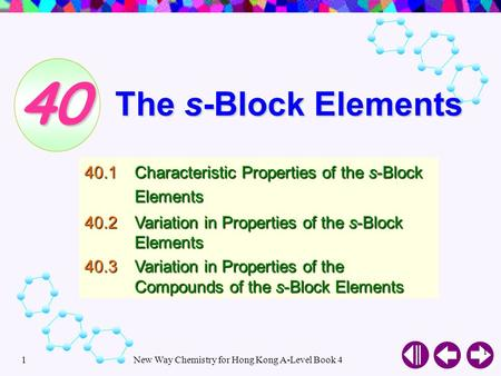 New Way Chemistry for Hong Kong A-Level Book 41 1 The s-Block Elements 40.1Characteristic Properties of the s-Block Elements 40.2Variation in Properties.