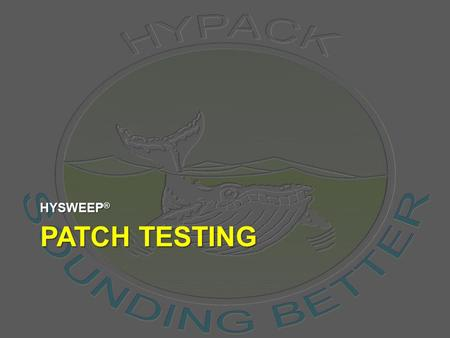 PATCH TESTING HYSWEEP ®. Calibration of a Multibeam System 10/16/2015HYPACK® 2009 Training Seminar2 PROJECT: SAMPLE PATCH TEST SINGLE HEAD Running a Patch.