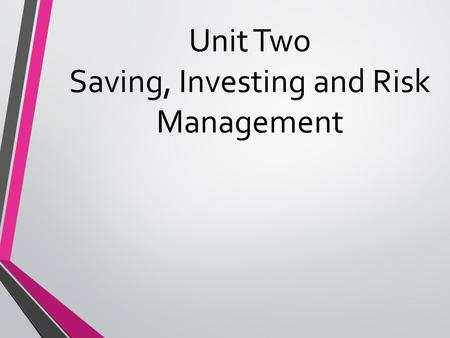 Unit Two Saving, Investing and Risk Management. Lesson One: Financial Institutions Objective: Students will be able to identify what a financial institution.