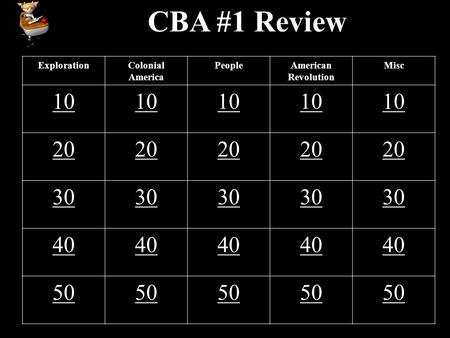 CBA #1 Review ExplorationColonial America PeopleAmerican Revolution Misc 10 20 30 40 50.