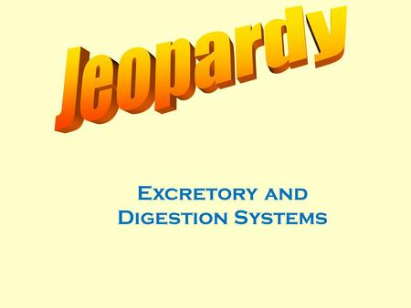 Excretory and Digestion Systems 100 200 400 300 400 The Kidney Excretory System Digestion System Misc. 300 200 400 200 100 500 100.
