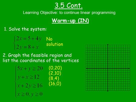 3.5 Cont. Warm-up (IN) Learning Objective: to continue linear programming 1. Solve the system: 2. Graph the feasible region and list the coordinates of.