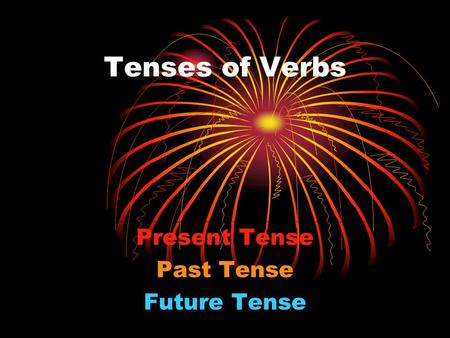 <strong>Tenses</strong> <strong>of</strong> Verbs Present <strong>Tense</strong> Past <strong>Tense</strong> Future <strong>Tense</strong>.
