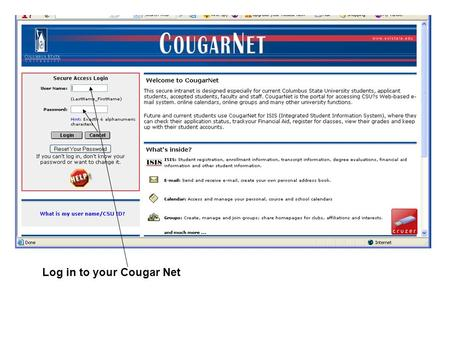 Log in to your Cougar Net. Once in your Cougarnet, click on the Staff Tab.