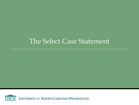 The Select Case Statement. Slide 4- 2 Select Case Statement Similar to If…Then…ElseIf  Performs a series of tests  Conditionally executes the first.