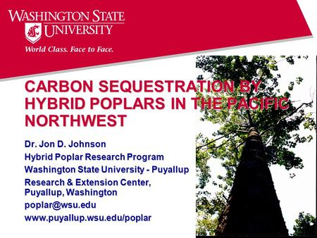 CARBON SEQUESTRATION BY HYBRID POPLARS IN THE PACIFIC NORTHWEST Dr. Jon D. Johnson Hybrid Poplar Research Program Washington State University - Puyallup.