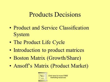 Products Decisions Product and Service Classification System