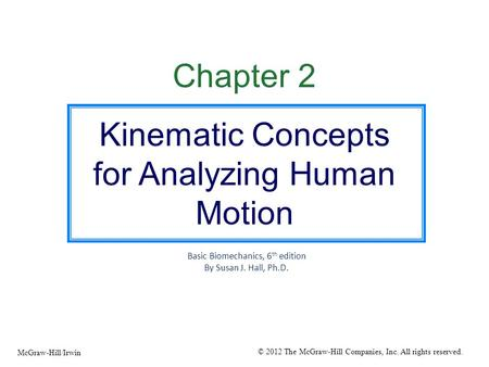 Kinematic Concepts for Analyzing Human Motion
