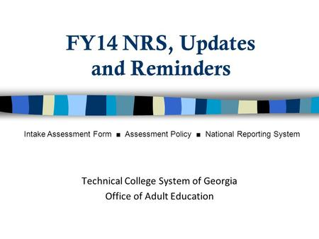 FY14 NRS, Updates and Reminders Technical College System of Georgia Office of Adult Education Intake Assessment Form ■ Assessment Policy ■ National Reporting.
