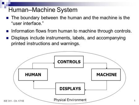 "1 ISE 311 - Ch. 17/18 Human–Machine System The boundary between the human and the machine is the ""user interface."" Information flows from human to machine."