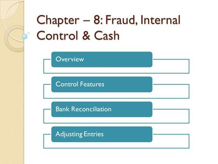 Chapter – 8: Fraud, Internal Control & Cash OverviewControl FeaturesBank ReconciliationAdjusting Entries.