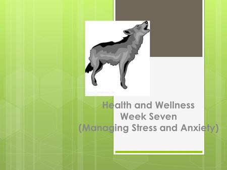 Health and Wellness Week Seven (Managing Stress and Anxiety)