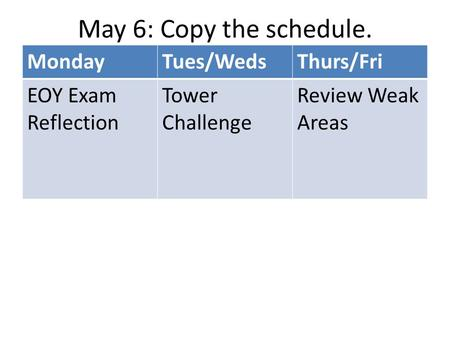 May 6: Copy the schedule. MondayTues/WedsThurs/Fri EOY Exam Reflection Tower Challenge Review Weak Areas.