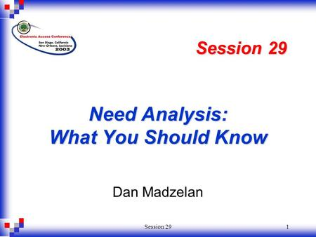 Session 291 Need Analysis: What You Should Know Dan Madzelan Session 29.