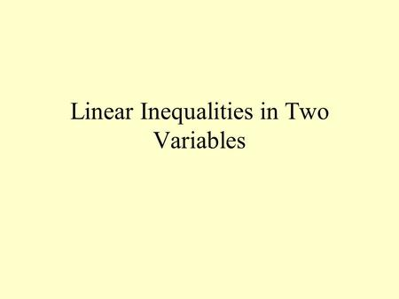 Linear Inequalities in Two Variables Graphing Inequalities The solution set for an inequality contain many ordered pairs. The graphs of these ordered.