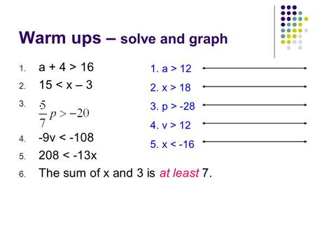 Warm ups – solve and graph 1. a + 4 > 16 2. 15 < x – 3 3.. 4. -9v < -108 5. 208 < -13x 6. The sum of x and 3 is at least 7. 1.a > 12 2.x > 18 3.p > -28.