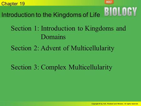Section 1: Introduction to Kingdoms and Domains