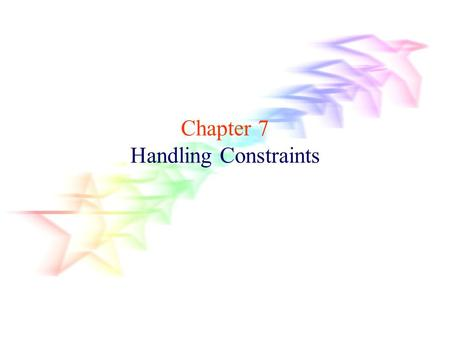Chapter 7 Handling Constraints