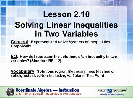 Lesson 2.10 Solving Linear Inequalities in Two Variables Concept: Represent and Solve Systems of Inequalities Graphically EQ: How do I represent the solutions.