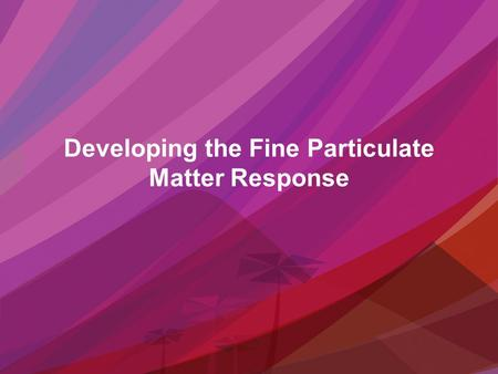 Developing the Fine Particulate Matter Response. Developing the Response – Air Physical System.