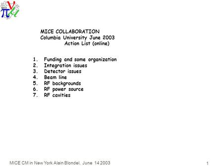 MICE CM in New York Alain Blondel, June 14 2003 1 MICE COLLABORATION Columbia University June 2003 Action List (online) 1.Funding and some organization.