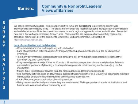1 Barriers: Community & Nonprofit Leaders' Views of Barriers SURVEY ANALYSISSURVEY ANALYSIS We asked community leaders - from your perspective, what are.