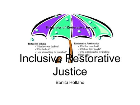 Bonita Holland Inclusive Restorative Justice. RJ as a response....? Harm Crime Broken relationships Minor disputes Serious incidents Murder.....