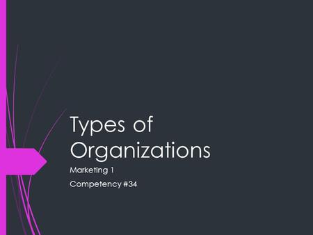 Types of Organizations Marketing 1 Competency #34.