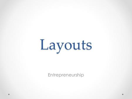 Layouts Entrepreneurship. Where do you find milk in your local grocery store? In the back left corner of the store! Why?