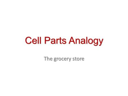 Cell Parts Analogy The grocery store.