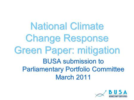 National Climate Change Response Green Paper: mitigation BUSA submission to Parliamentary Portfolio Committee March 2011.