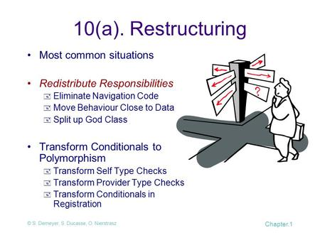 © S. Demeyer, S. Ducasse, O. Nierstrasz Chapter.1 10(a). Restructuring Most common situations Redistribute Responsibilities  Eliminate Navigation Code.