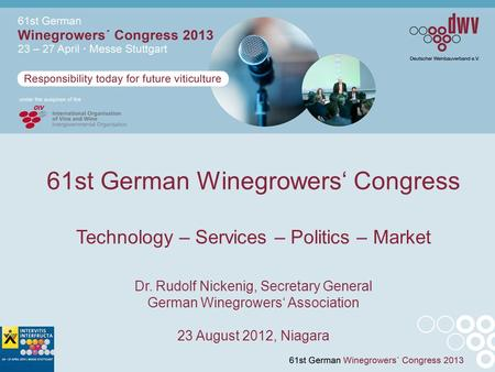 61st German Winegrowers' Congress Technology – Services – Politics – Market Dr. Rudolf Nickenig, Secretary General German Winegrowers' Association 23 August.