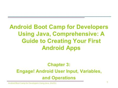 Engage! Android User Input, Variables,