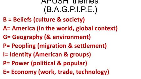 APUSH 'themes' (B.A.G.P.I.P.E.) B = Beliefs (culture & society) A= America (in the world, global context) G= Geography (& environment) P= Peopling (migration.