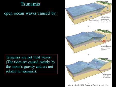 Tsunamis open ocean waves caused by: Tsunamis are not tidal waves. (The tides are caused mainly by the moon's gravity and are not related to tsunamis).