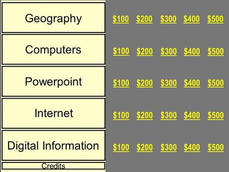 Geography Computers Powerpoint Internet Digital Information $500$400$300$200$100 $500$400$300$200 $100 $500$400$300$200$100 $500$400$300$200$100 $500$400$300$200$100.