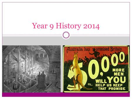 Year 9 History 2014. TERM 1/2 – THE INDUSTRIAL REVOLUTION TERM 2/3 – AUSTRALIA AND ASIA TERM 3/4 – WORLD WAR I Units for 2012.