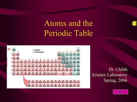 Atoms and the Periodic Table Dr. Childs Science Laboratory Spring, 2004 Cote d'Ivoire.