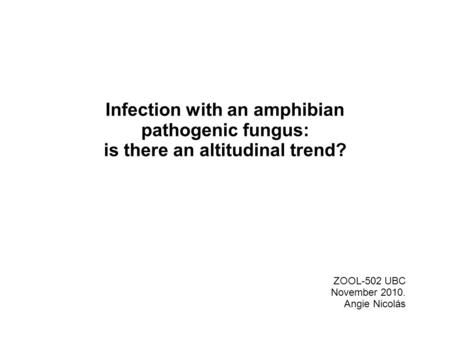 Infection with an amphibian pathogenic fungus: is there an altitudinal trend? ZOOL-502 UBC November 2010. Angie Nicolás.