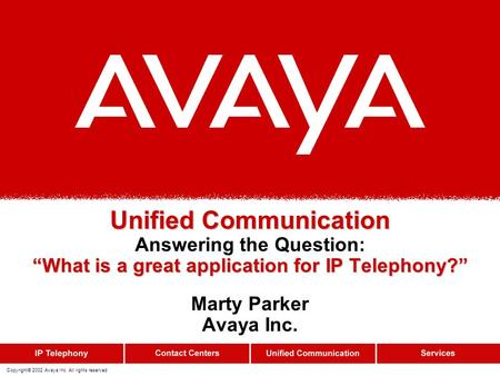 Copyright© 2002 Avaya Inc. All rights reserved Marty Parker Avaya Inc.