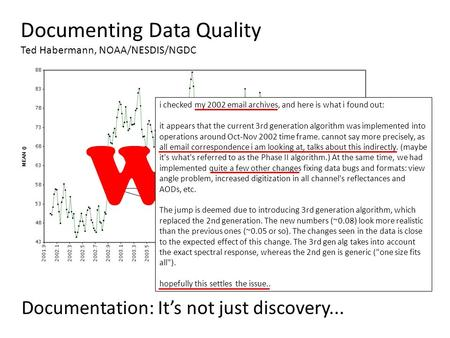 Documenting Data Quality Ted Habermann, NOAA/NESDIS/NGDC Documentation: It's not just discovery... 50% change in global average Why? i checked my 2002.