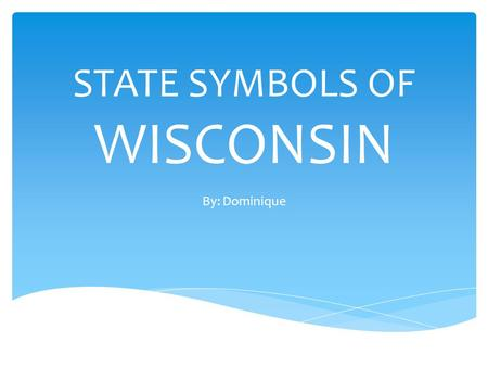 STATE SYMBOLS OF WISCONSIN By: Dominique STATE FLAG