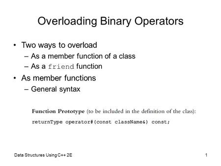 Overloading Binary Operators Two ways to overload –As a member function of a class –As a friend function As member functions –General syntax Data Structures.