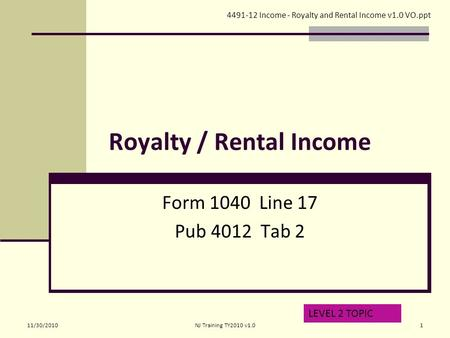 TAX-AIDE Rent and Royalty Income Form 1040 – Line 17 Pub 4012 ...