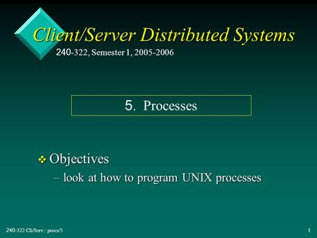 240-322 Cli/Serv.: procs/51 Client/Server Distributed Systems v Objectives –look at how to program UNIX processes 240-322, Semester 1, 2005-2006 5. Processes.