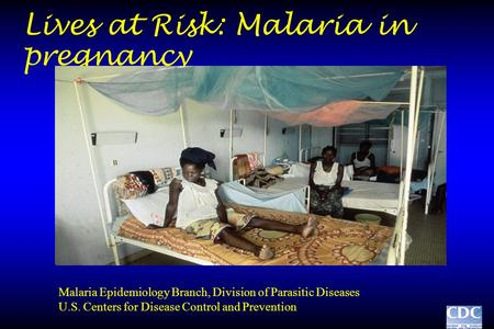 Lives at Risk: Malaria in pregnancy Malaria Epidemiology Branch, Division of Parasitic Diseases U.S. Centers for Disease Control and Prevention.