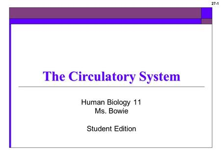 © 2009 The McGraw-Hill Companies, Inc. All rights reserved 27-1 The Circulatory System Human Biology 11 Ms. Bowie Student Edition.