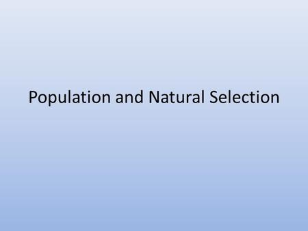 Population and Natural Selection. Food Chain.